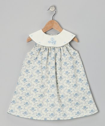 Off-White & Blue Floral Yoke Dress - Infant & Toddler