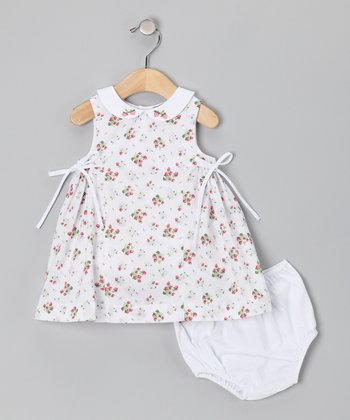 White & Red Strawberry Dress & Diaper Cover - Infant