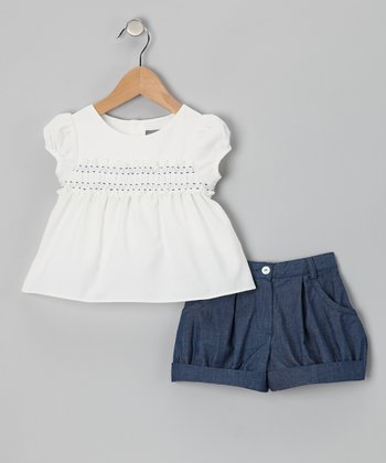 White Shirred Top & Blue Shorts - Girls