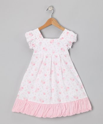 White Floral Bubble Dress - Infant