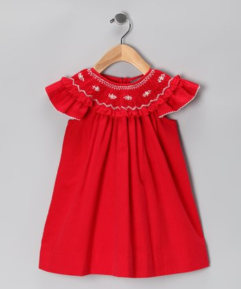 Red Corduroy Angel-Sleeve Dress - Infant & Toddler