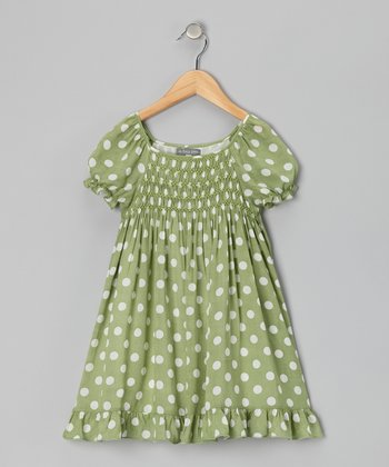 Mint & Ivory Polka Dot Shirred Dress - Infant