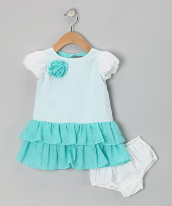 White & Aqua Swiss Dot Dress - Infant & Toddler