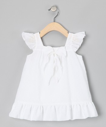 White Swiss Dot Angel-Sleeve Dress - Toddler
