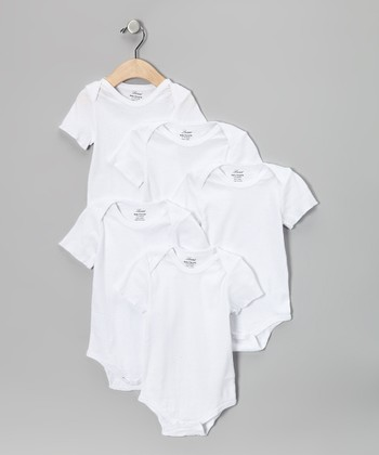 White Short-Sleeve Bodysuit Set - Infant