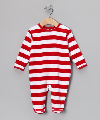 Red & White Stripe Velour Footie - Infant