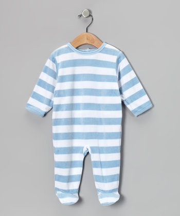 Blue & White Stripe Velour Footie - Infant