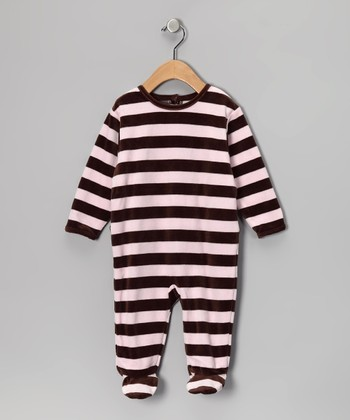 Pink & Brown Stripe Velour Footie - Infant