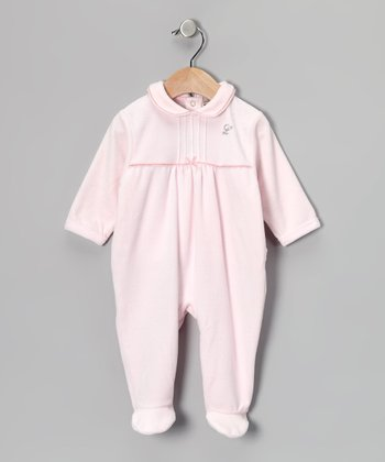 Pink Ribbon 'L' Rhinestone Velour Footie - Infant