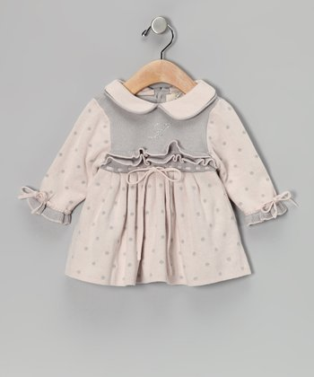 Pink & Gray Polka Dot Dress - Infant