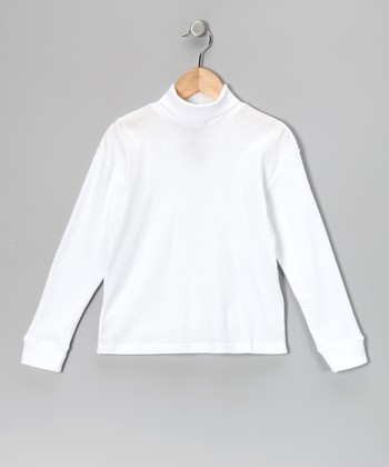 Leveret White Turtleneck - Girls
