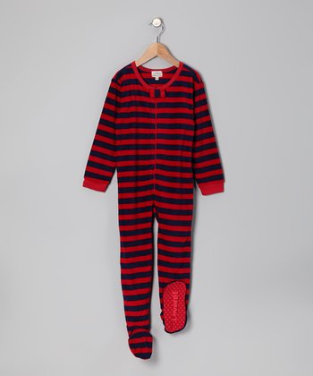 Red & Navy Stripe Fleece Footie - Infant, Toddler & Kids