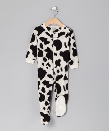 Black Cow Fleece Footie - Infant, Toddler & Kids