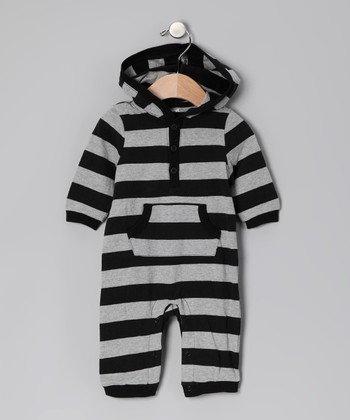 Black & Gray Stripe Playsuit - Infant
