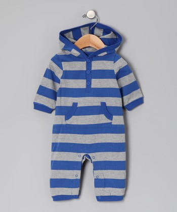 Royal Blue & Gray Stripe Hooded Playsuit - Infant