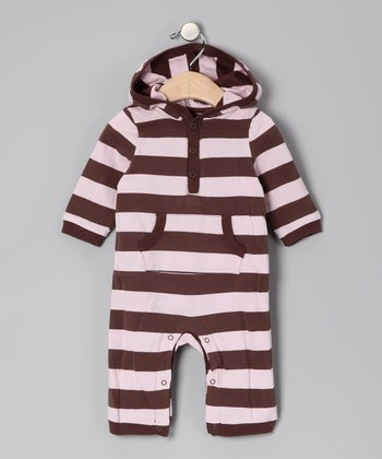 Brown & Light Pink Stripe Hooded Playsuit - Infant