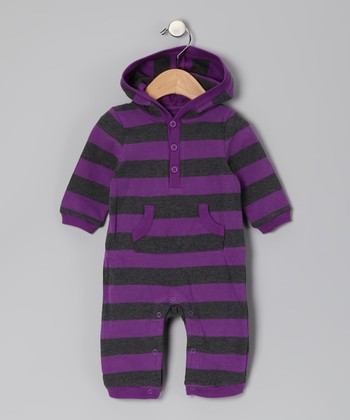 Purple & Gray Stripe Hooded Playsuit - Infant