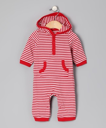 White & Red Stripe Hooded Playsuit - Infant