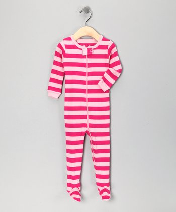 Pink Stripe Footie - Toddler & Kids