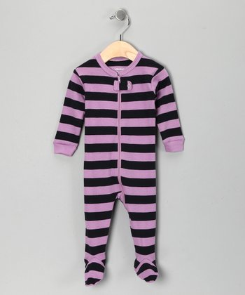 Purple & Navy Stripe Footie - Toddler & Kids