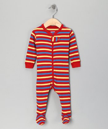 Red & Yellow Stripe Footie - Infant, Toddler & Kids