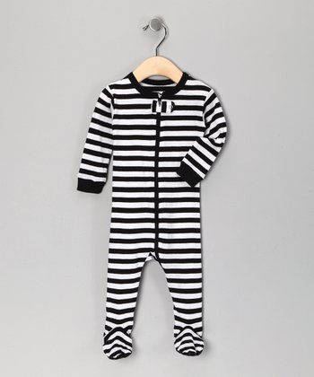 Black & White Stripe Footie - Toddler & Kids