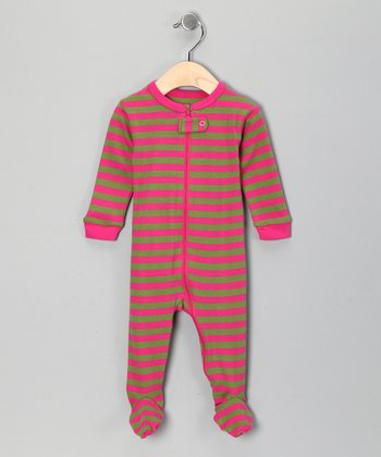 Pink & Green Stripe Footie - Infant, Toddler & Girls