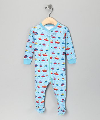 Light Blue Sailboat Footie - Toddler & Boys