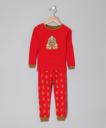 Red Gingerbread House Pajama Set - Infant
