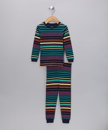 Turquoise Stripe Pajama Set - Infant