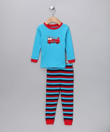 Blue & Red Fire Truck Pajama Set - Infant & Toddler