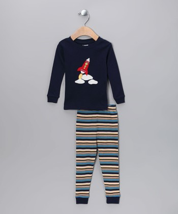 Navy Space Rocket Pajama Set - Toddler & Kids