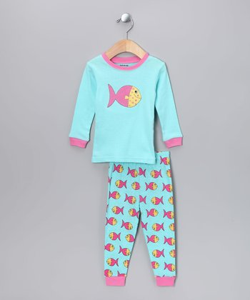 Seafoam Fish Pajama Set - Infant