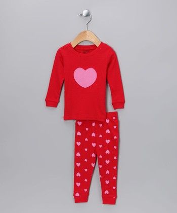 Red & Pink Heart Pajama Set - Infant