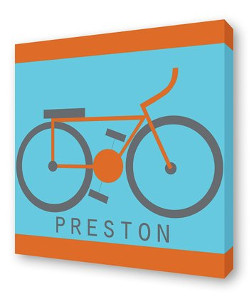 Orange Bike Personalized Canvas Wall Art