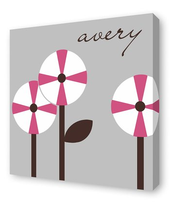 Fuchsia Pinwheel Trio Personalized Wall Art