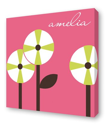 Watermelon Pinwheel Trio Personalized Canvas Wall Art