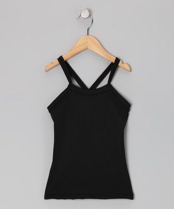 Black Cross-Back Dance Tank - Toddler & Girls