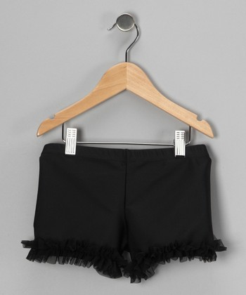 Black Ruffle Dance Shorts - Toddler & Girls