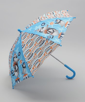 Blue & Orange Penguin Madagascar Umbrella