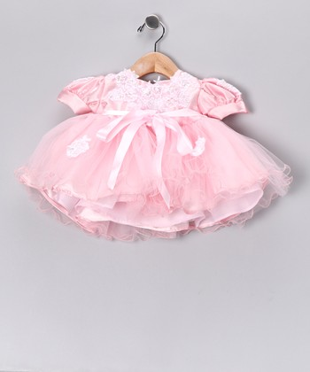 Pink Puff-Sleeve Tulle Dress - Infant