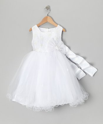 White Flower Bow Dress - Toddler & Girls