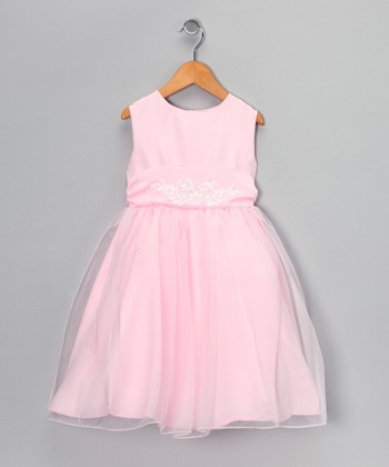 Pink Sheer Overlay Dress - Toddler & Girls