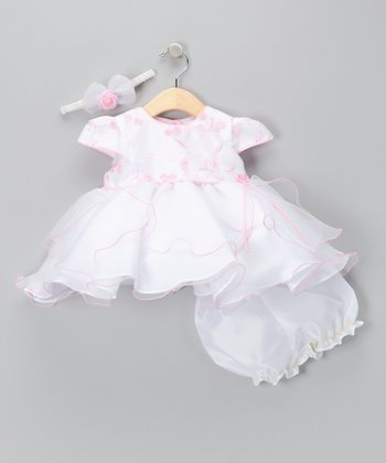 Pastel Pink Embroidered Dress Set - Infant, Toddler & Girls