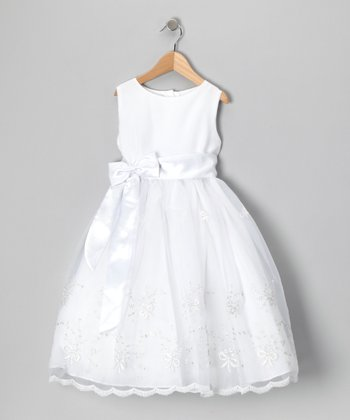 White Ribbon Embroidered Dress - Girls