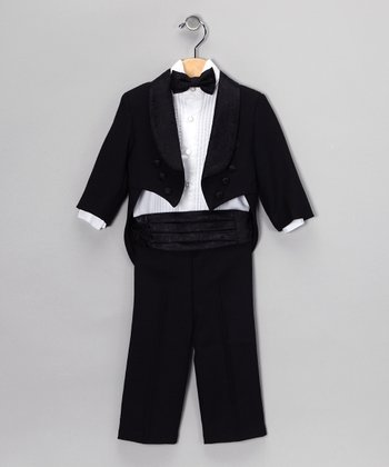 Black Five-Piece Tuxedo Set - Infant
