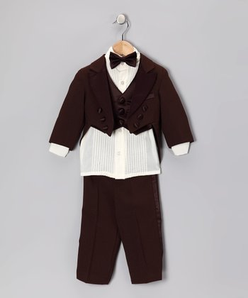 Brown Five-Piece Vest Tuxedo Set - Infant, Toddler & Boys