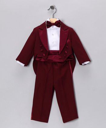 Burgundy Five-Piece Tuxedo Set - Infant, Toddler & Boys