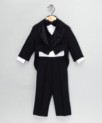 Black Five-Piece Vest Tuxedo Set - Infant & Toddler