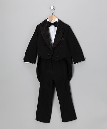 Black Brocade Five-Piece Tuxedo Set - Infant, Toddler & Boys